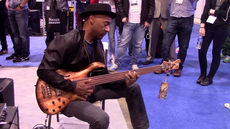 Marcus Miller testing Mayones Patriot MR Fretless Bass at Namm Show 2015
