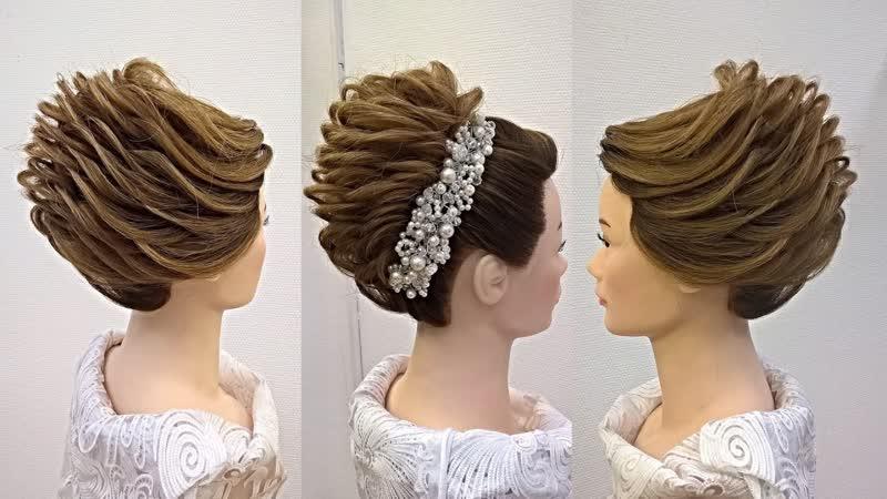 Причёска на длинные и средние волосы с плетением на базе ракушки Оформление жгутами.