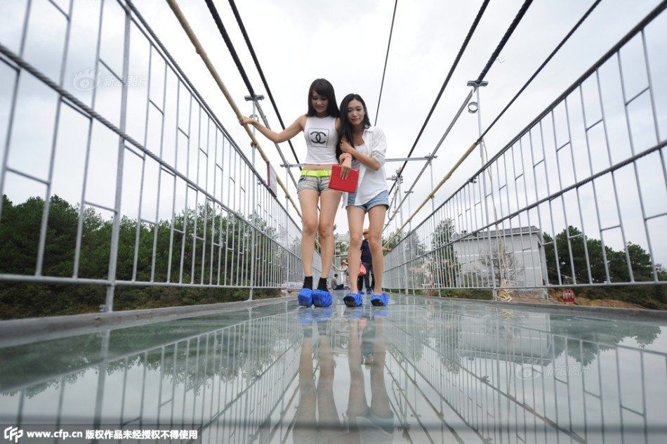 China's First All-Glass Suspension Bridge Opens in Hunan