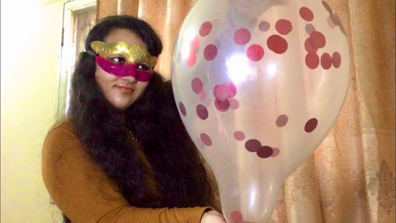 Blow to pop with red confetti balloon balloon bursting video