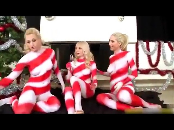 Sexy Girls Candy Cane Body Paint