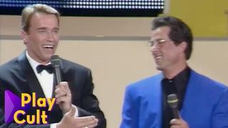 Arnold Schwarzenegger e Sylvester Stallone ai Telegatti   Mediaset Play Cult