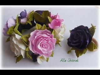 МК Резинка на гульку пучок с цветами из фоамирана