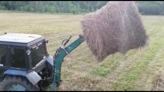 Вывоз сена, тюков, на МТЗ 80, погрузка рулонов самодельной стрелой в 2 птс 4 сенокос 2021