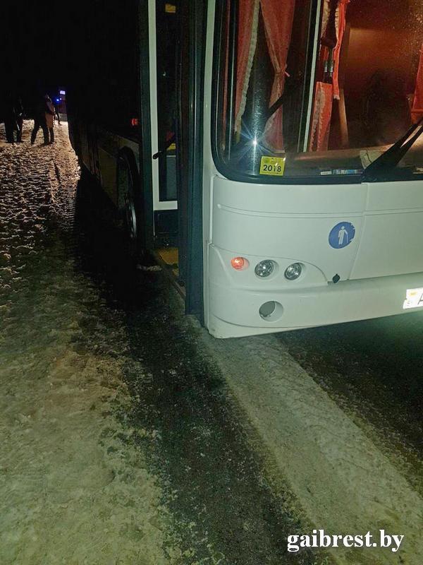 В Лунинецком районе автобус наехал на сидящего на проезжей части пешехода