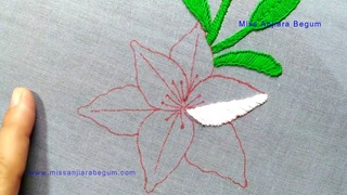 Easter Lily Stitching Tutorial,Easter lily Embroidery Design,Gorgeous Needle Painting,Embroidery-147