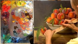 How to paint fuzzy peaches with oil paint demo by Aleksey Vaynshteyn