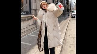 Длинные 2019 новые модные тонкие женские меховые зимние куртки с хлопковой подкладкой теплые утепленные женские пальто длинные