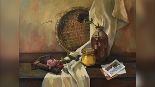 Still life with dried roses - Oil Painting Alla Prima - Kristina Guelazonia