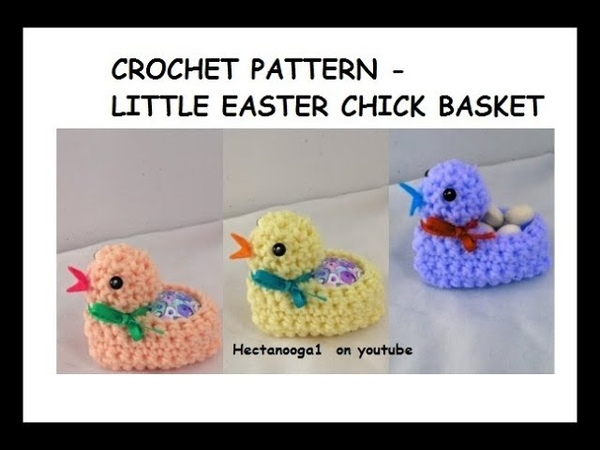 How to crochet a LITTLE EASTER CHICK Egg BASKET Home decor Easy crochet for Easter
