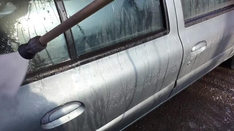 Мойка авто покрытого Dempinox под давлением через 4 дня после покраски в мороз -5