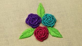 Hand Embroidery- Bullion Knot Rose Stitch Embroidery   Brazilian Embroidery