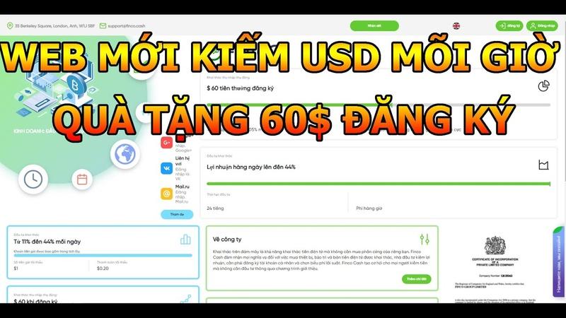 WEB MỚI RA KIẾM USD MÕI GIỜ NGON QUÀ TẶNG 60$ LẬP TỨC KHI ĐĂNG KÝ KIẾM TIỀN ONLINE