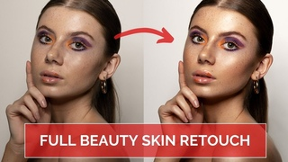 Beauty SKIN RETOUCHING tutorial using DODGE and BURN // Full Photoshop workflow for high-end results
