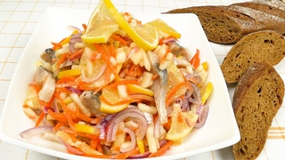 Быстрый салат-закуска из сельди к празднику   Fast herring salad for the holiday