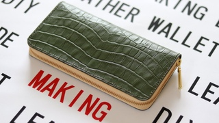 How to make a zipper long wallet that can hold a lot of contents/Cowhide embossing (small crocodile)