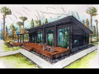 Architectural sketch.Эскиз дома в скандинавском стиле