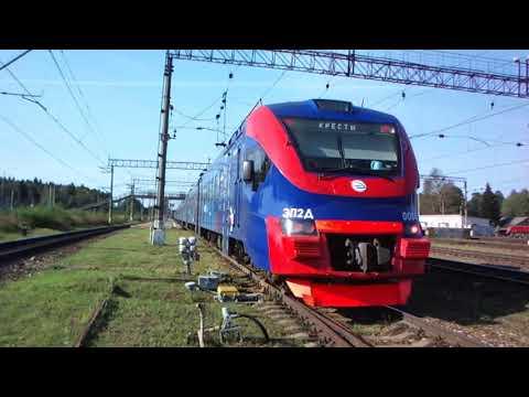 Электропоезд ЭП2Д 0084 в ливрее РЭКС Экспресс прибывает из Крестов в Бекасово 1