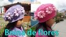 Boina tejida a crochet con cuadrados de Flores paso a paso - MILAGROS ENA