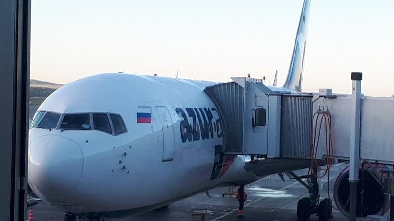 Взлет Боинга 767-300ER AZUR air из Антальи до Екатеринбурга
