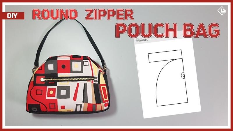DIY ROUND ZIPPER POUCH BAG MINI HANDBAG FREE PATTERN 라운드 지퍼파우치 백 만들기 패턴공유 sewing tutorial