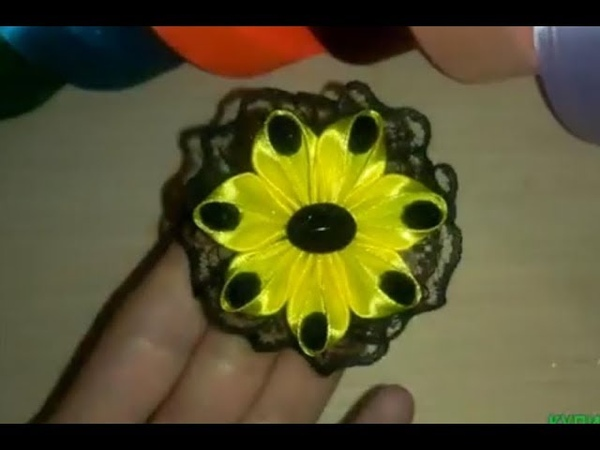 яркий цветочек kanzashi МК bloemen gemaakt van satijnen lint decoratie