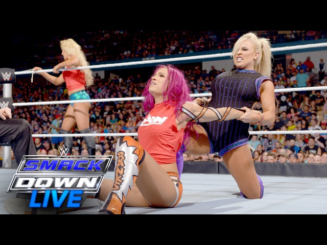 SBMKV Video Sasha Banks vs Charlotte Dana Brooke 2 on 1 Handicap Match SmackDown Live July 19 2016