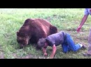Crazy man No Fear Man Takes A Risk Cuddles With A Biig Grizzly Bear