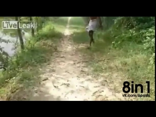 Индийский мальчик бьёт змею-питона об землю / snake taught a hard lesson indian man. give a snake taught a hard lesson