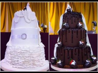(группа ) Bride & Grooms Two Sided Wedding Cake
