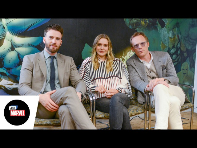 Ask Marvel Chris Evans Elizabeth Olsen Paul Bettany Marvel's Captain America Civil War
