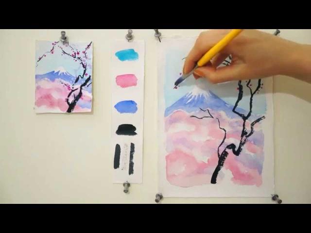 Уроки акварели Цветущая вишня