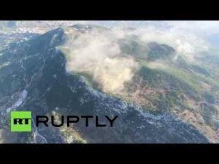 Беспилотник заснял продвижение сирийской армии в районе города Кенсабба