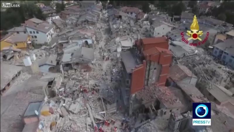 Италия Город Аматриче после землетрясения