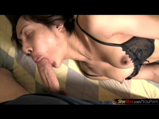 Petite asian shemale in black bra wanks cock and cumshots tgirl tranny trans ladyboy