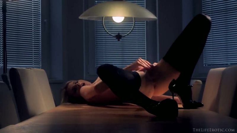 Hot Blonde Boss Is Masturbating On The Table In The