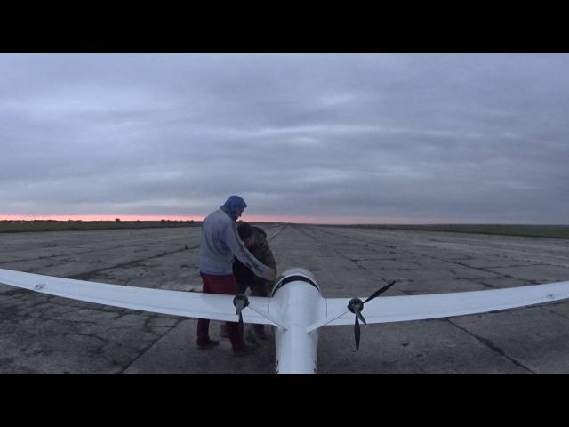Планер АС-4-ДУ с электродвигателями - 2-й полёт, с 3-х-лопастными винтами 2016-05-31