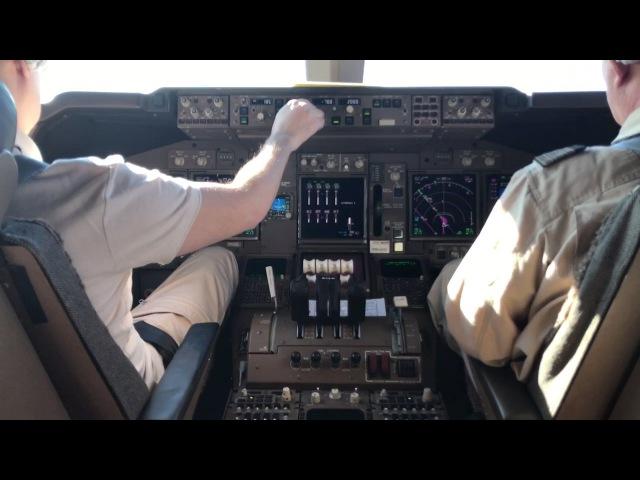 Заход на посадку в Новосибирске на Боинг 747 400 в условиях сильной болтанки и бокового ветра