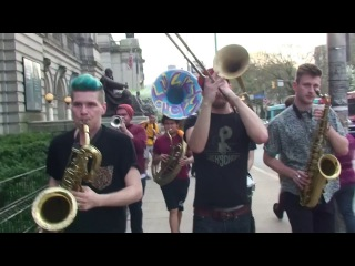 Leo P marches in his old neighborhood with Lucky Chops 4/18/15 @ 6:31 PM