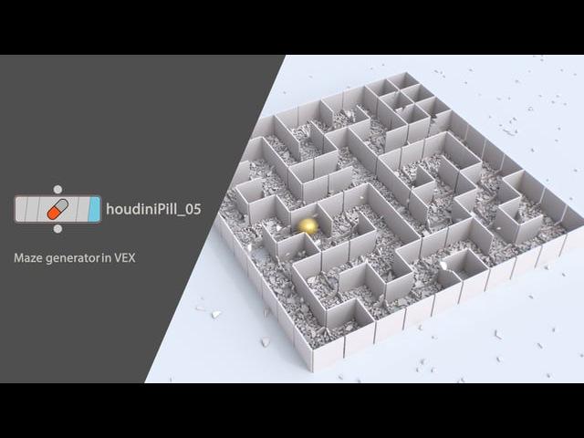 HoudiniPill_05. Maze generator in VEX