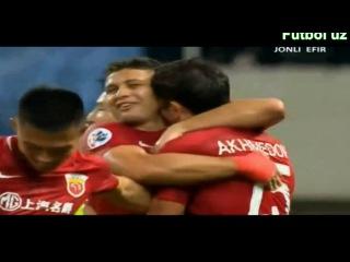 Гоооол ОДИЛ АХМЕДОВ Шанхайдаги 1-голи Супер гол