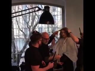 Gigi Hadid backstage at Fendi FW17.