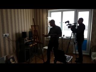 Процесс написания портрета С. Лазарева при участии телевидения. (с) Гия Купрашвили.