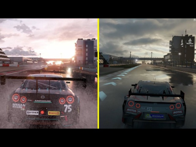 Project CARS 2 vs Forza 7 Graphics Comparison - Nissan GT-R Nurburgring Wet Run