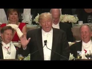 Дональд Трамп и Хиллари Клинтон на благотворительном ужине. Монолог Трампа с переводом