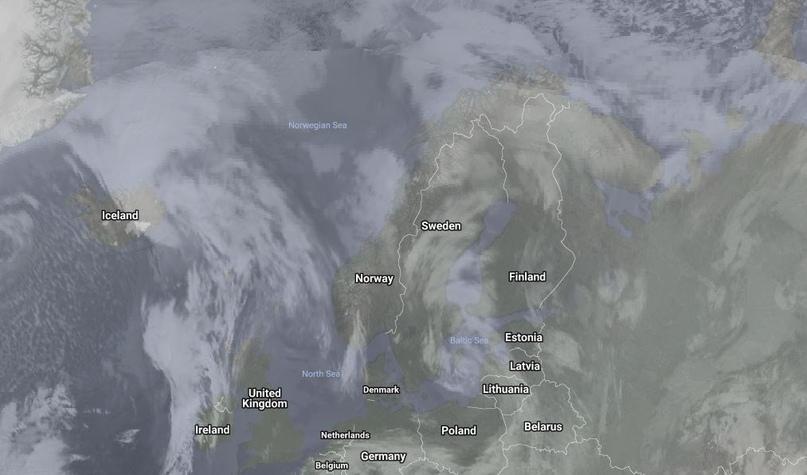 Облачный покров в реальном времени, взято с сайта RealEarth