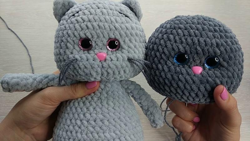 Утяжка мордочки вязаной игрушки амигуруми на примере плюшевого Котика приложение к МК