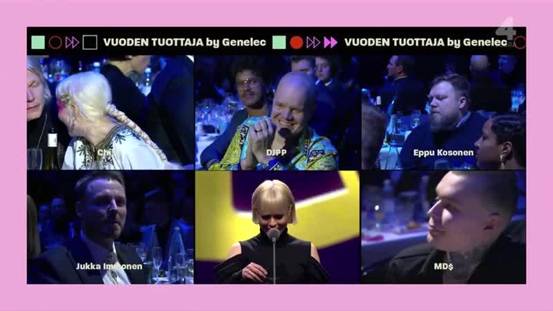 Paula Vesala на вручение премии Emma Gala в номинации лучший исполнитель года. Eppu Kosonen