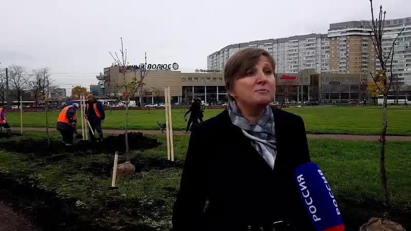 Посадка деревьев в парке Воинов-Интернационалистов