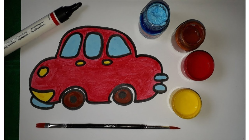 Cartoon Car Drawing Video for Kids | How to Draw Color Cartoon Car for Kids